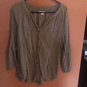 Olive green tunic length button down top